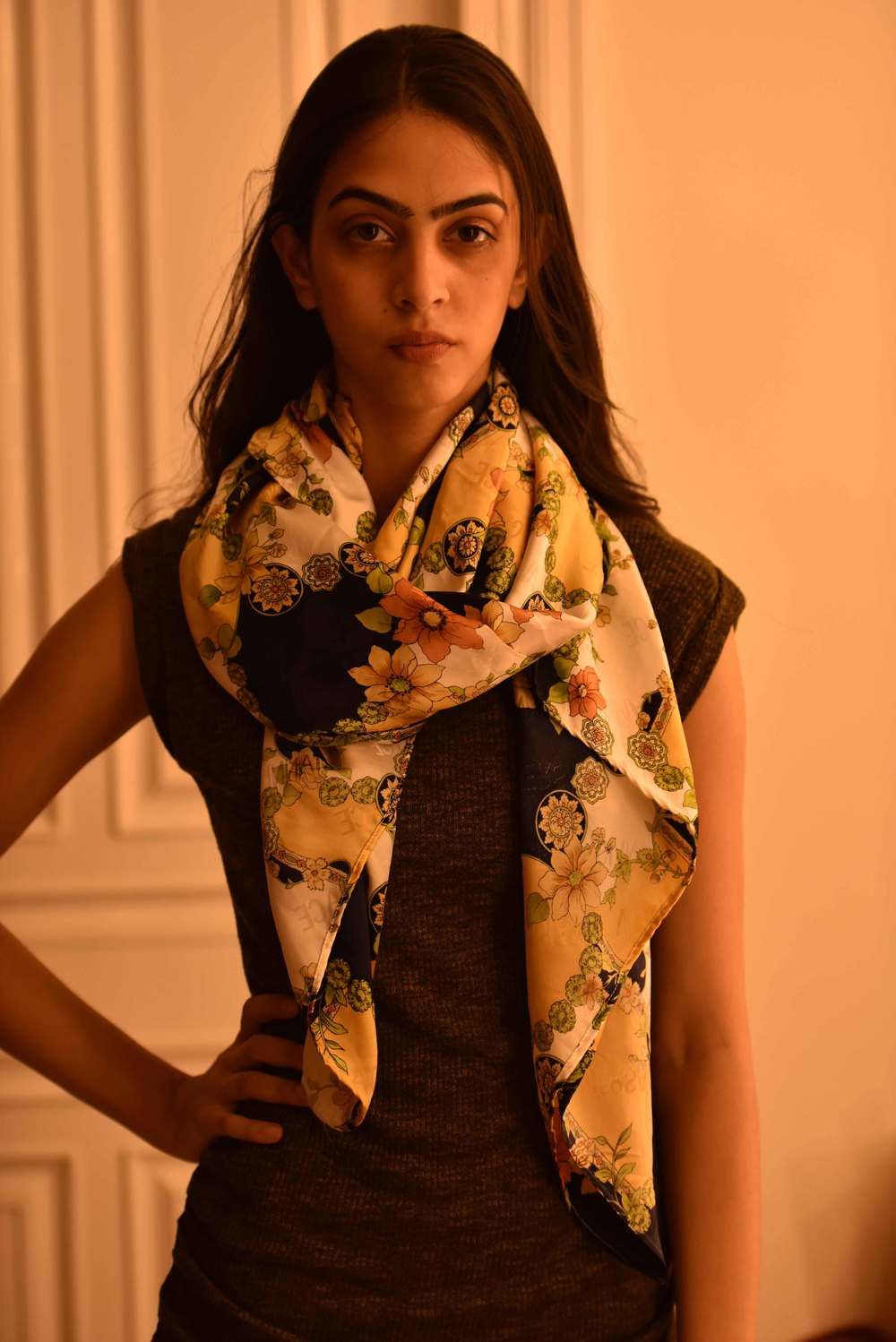just another way of tying a scarf! Versace scarf, model: Mannat Dhaliwal, image©gunjanvirk.