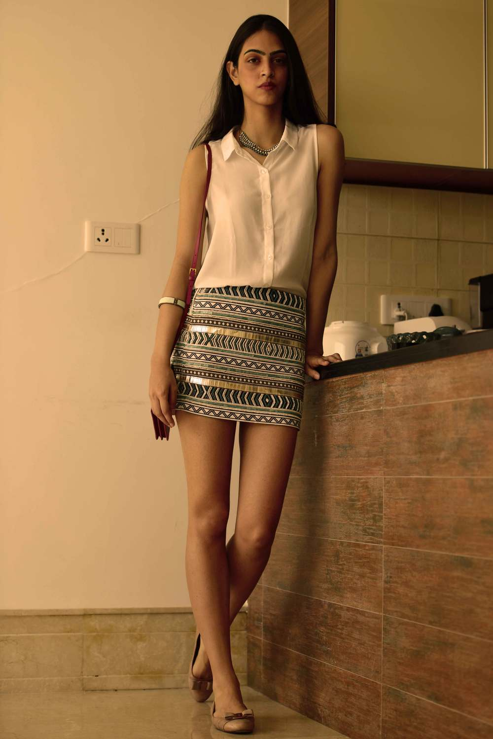 Zara mini-skirt, Prada bag and Ferragamo ballet flats. Image©gunjanvirk, Model: Mannat Dhaliwal