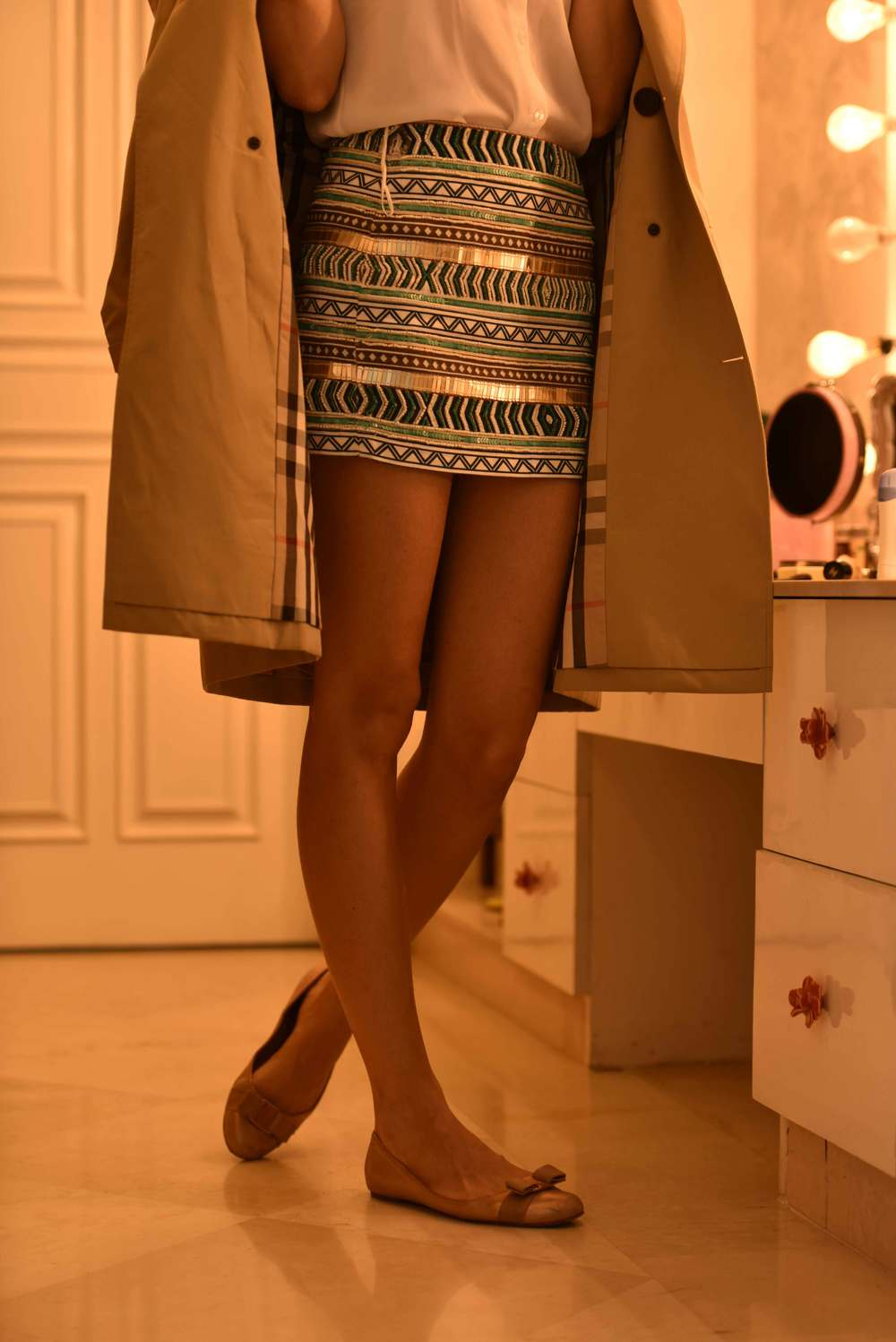 Zara mini-skirt, Ferragamo ballet flats and a Burberry trench. Image©gunjanvirk, Model: Mannat Dhaliwal.