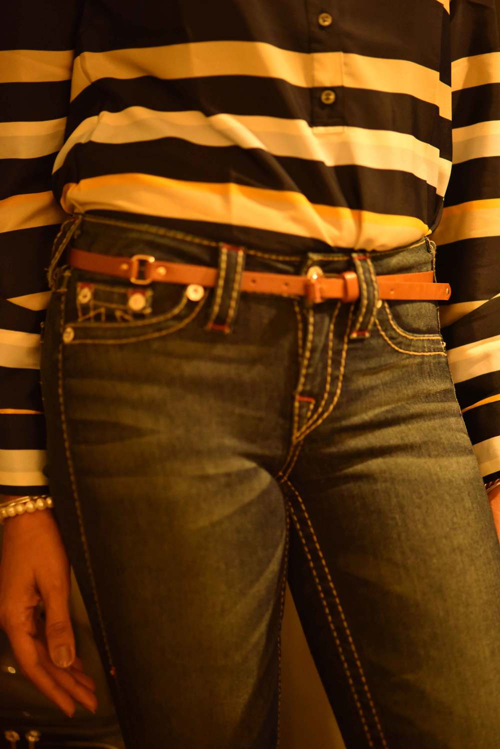 True Religion jean leggings with an Ann Taylor striped top. Image©gunjanvirk
