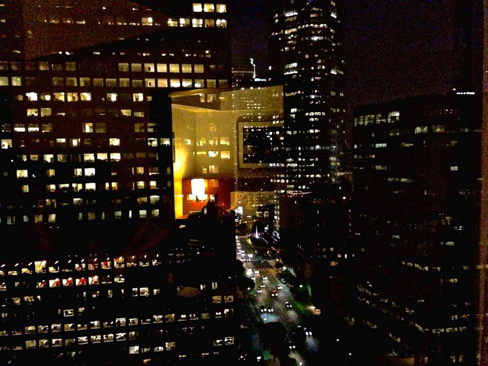 Night View of downtown L.A. from my room taken from an iPhone 5, Westin Bonaventure, L.A. Image©sourcingstyle.com