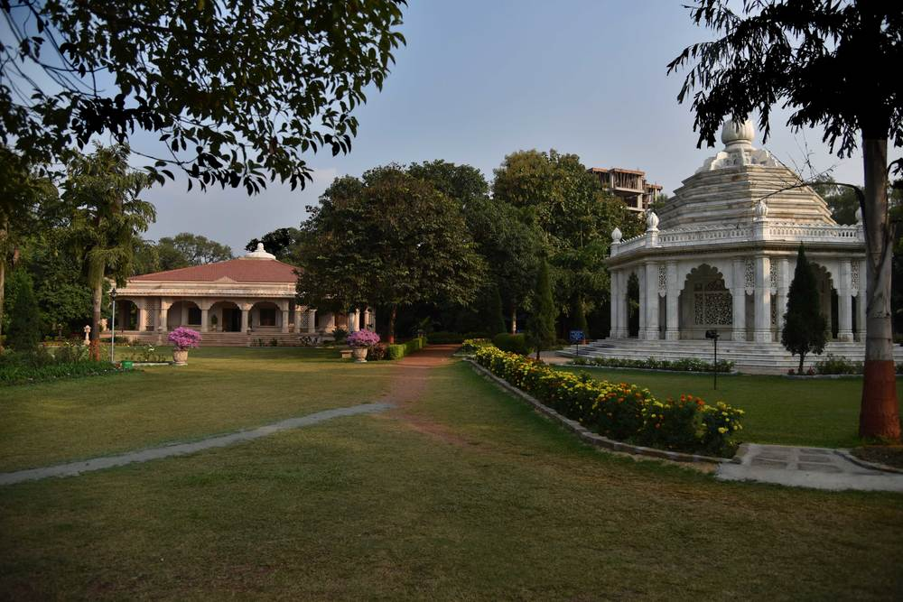 The Smriti Mandir and the Meditation Hall in the background, YSS ashram, Ranchi. Image©sourcingstyle.com