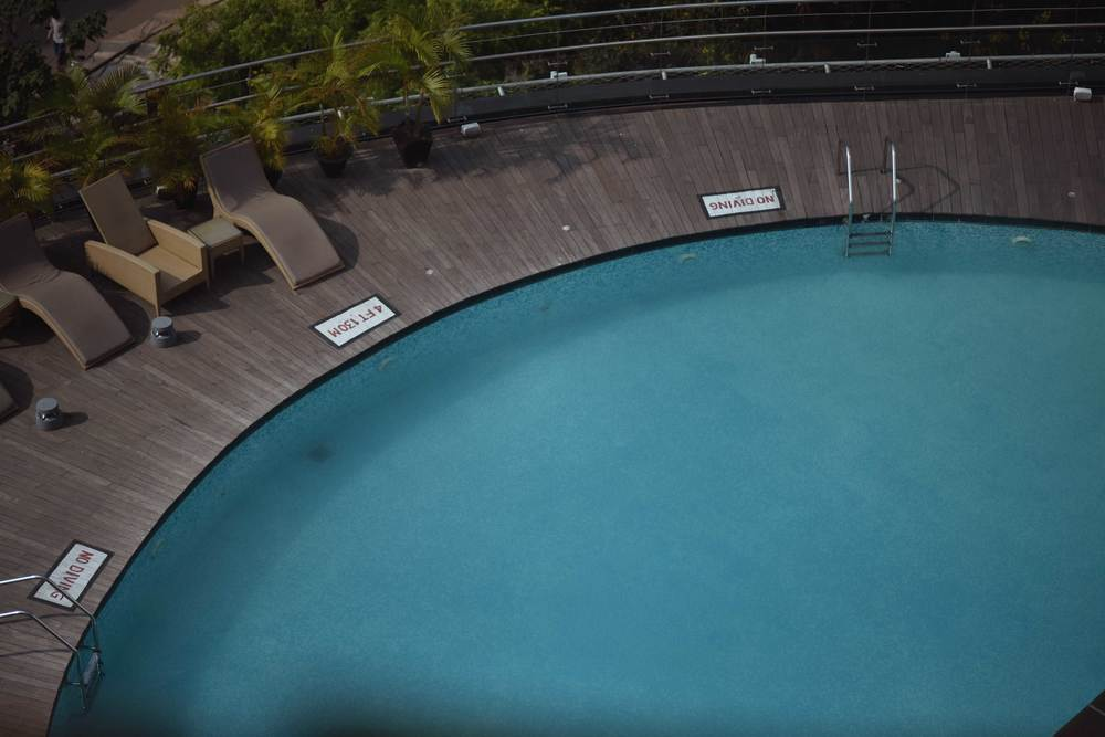 Swimming pool-shot taken from the room, Radisson Hotel, Ranchi. Image©sourcingstyle.com