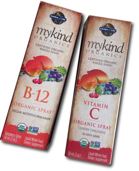 Mykind Organics Vitamin B12 and Vitamin C spray. Image©gunjanvirk
