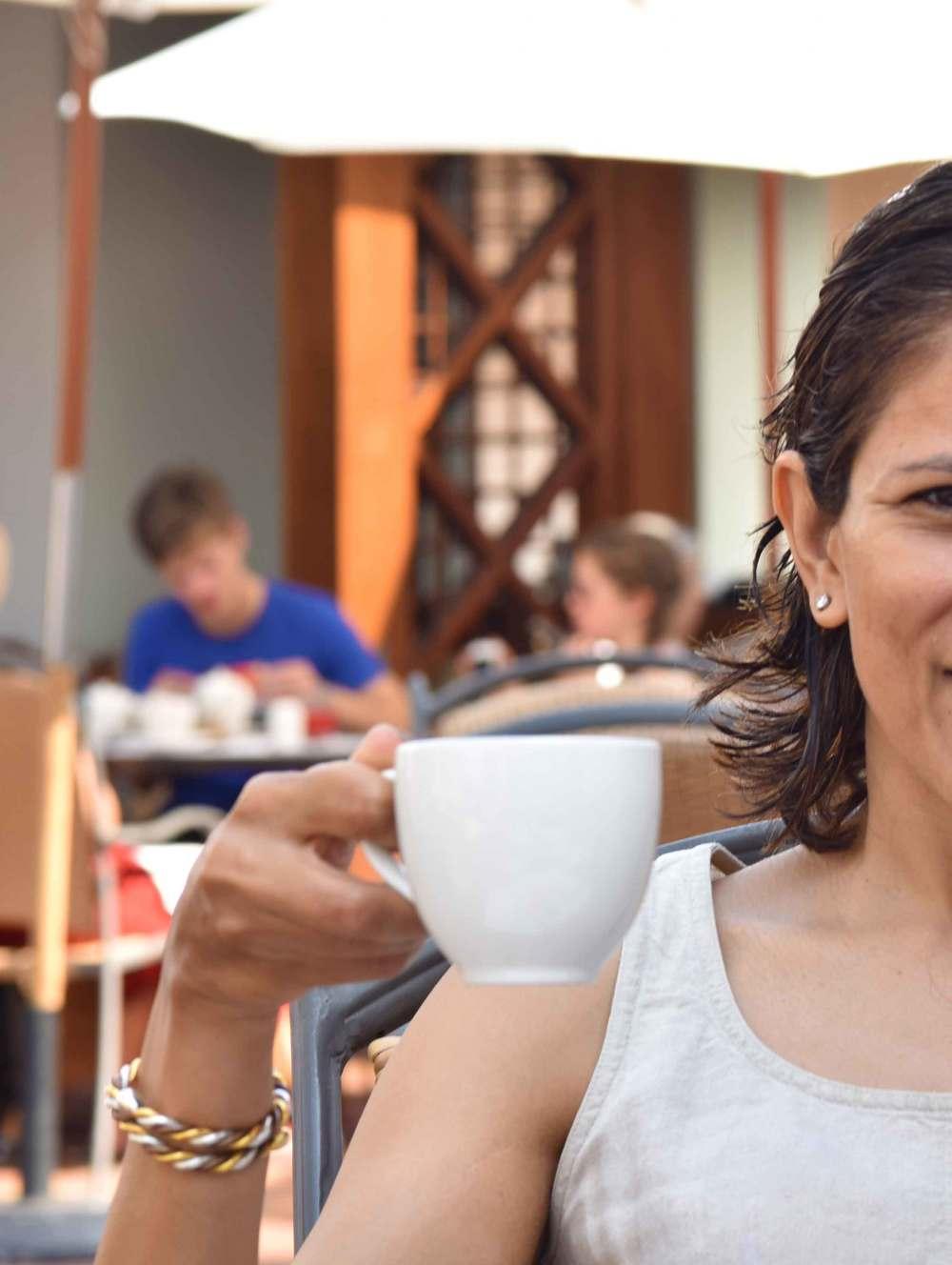 Cafe Americano for breakfast! Life's joyous moments. :) Park Hyatt Hotel, Goa, image©sourcingstyle.com.