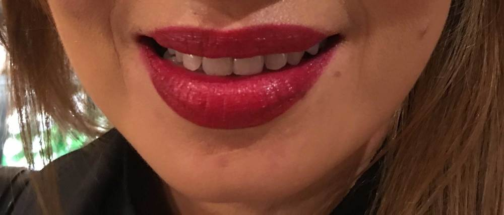 Gucci lips-my friend Karol tries the Gucci Iconic Red 140 Audacious Lipstick. Image©gunjanvirk