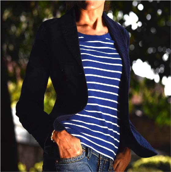 Lauren by #RalphLauren round neck full sleeves tee, #Talbots navy cotton jacket and my favorite #TrueReligion jeans! Image©gunjanvirk