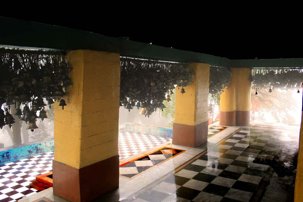 The courtyard and patio area of the Drongiri temple, Uttarakhand, India. Image©gunjanvirk