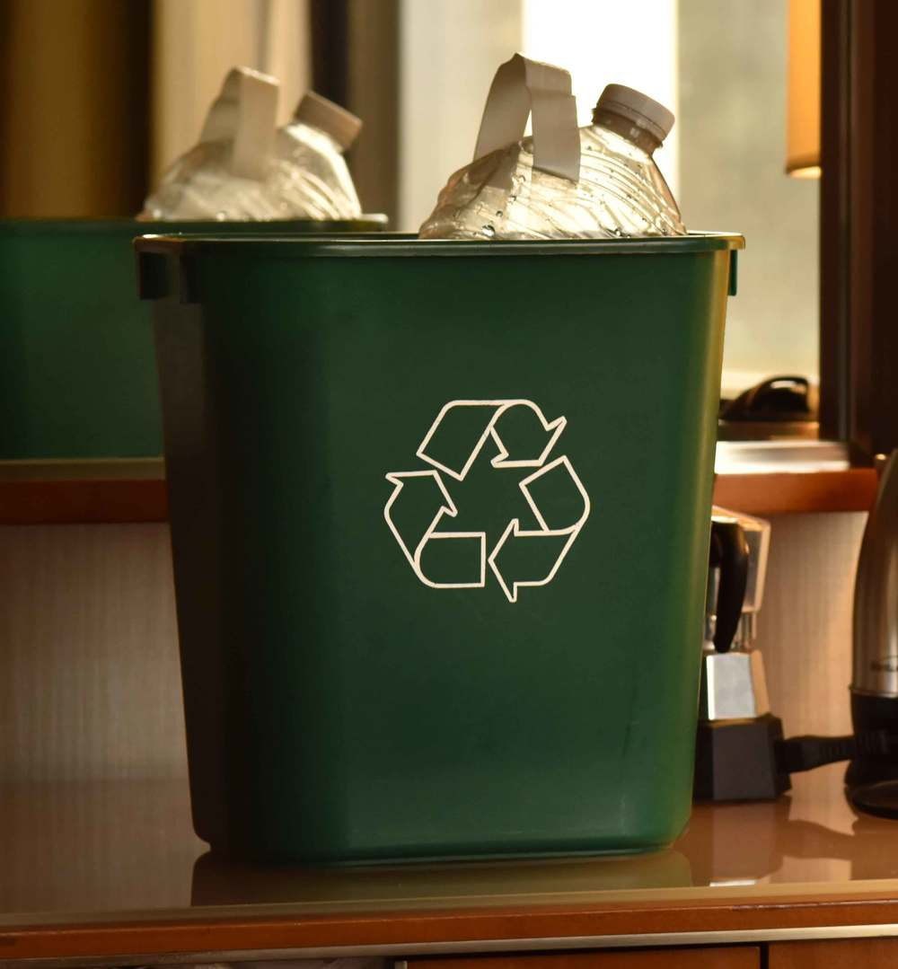 A recycle trash can from a hotel stay!  Image©gunjanvirk