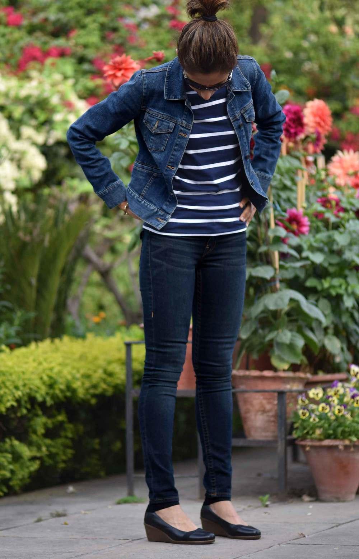 Denim on denim: Talbots denim jacket, True Religion jean leggings, striped Ralph Lauren tee. Image©gunjanvirk