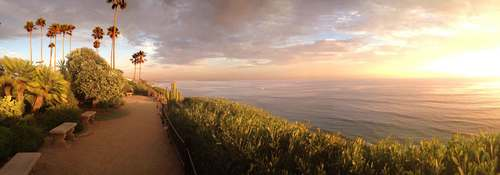 A panoramic view of the Self Realization Fellowship meditation gardens at Encinitas, CA. Image©gunjanvirk