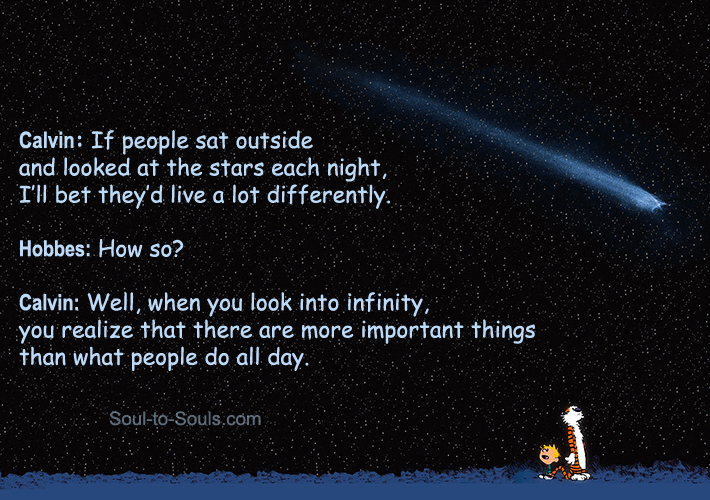 Calvin staring into space and looking at stars. Image from redpaper.in.