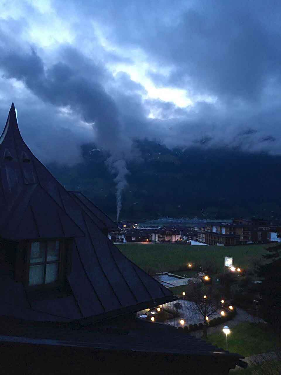 View from the room in the morning at 6:30a.m., Gartenhotel Crystal. Image©gunjanvirk