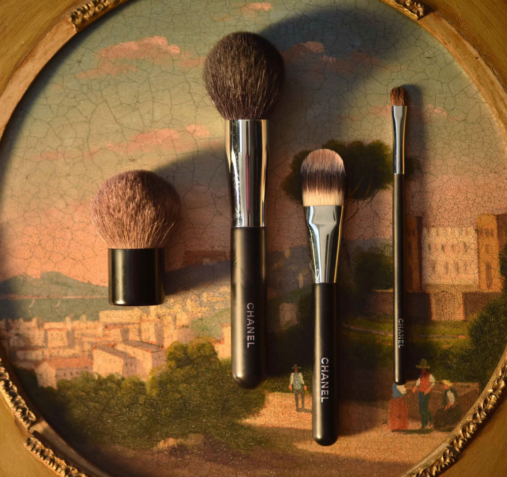 Chanel Travel Touch-up Brush, Chanel Powder Brush no.1, Chanel Foundation Brush no.6, Chanel Small Eye Shadow Brush no.15. Image©gunjanvirk