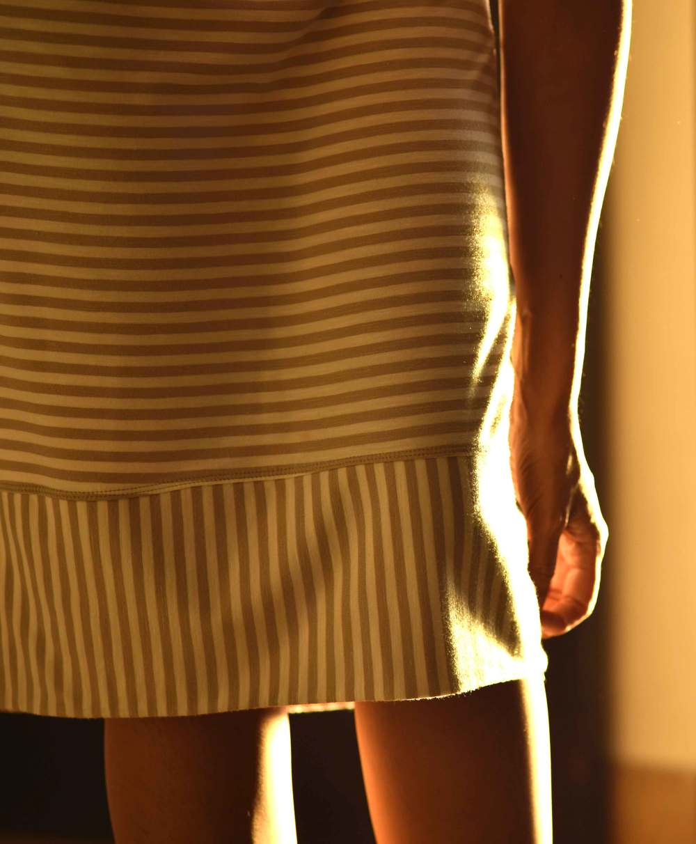I love the length of my Chicos striped summer dress. Image©sourcingstyle.com