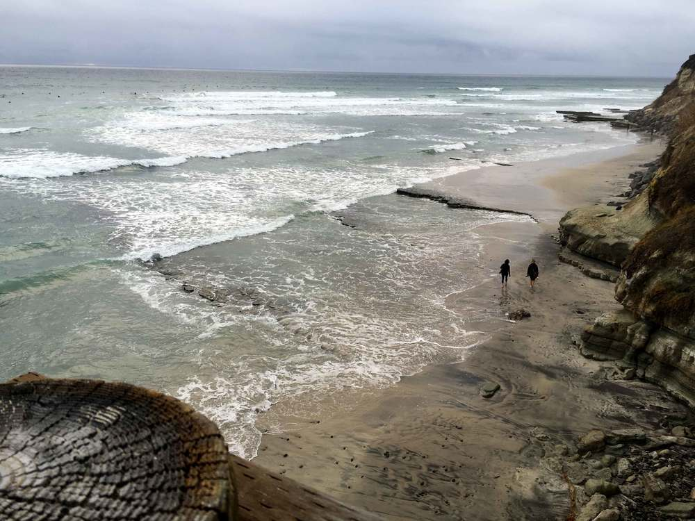 Surfers, stormy day at the ocean, ocean view, Swamis beach, Encinitas, California. Image©sourcingstyle.com