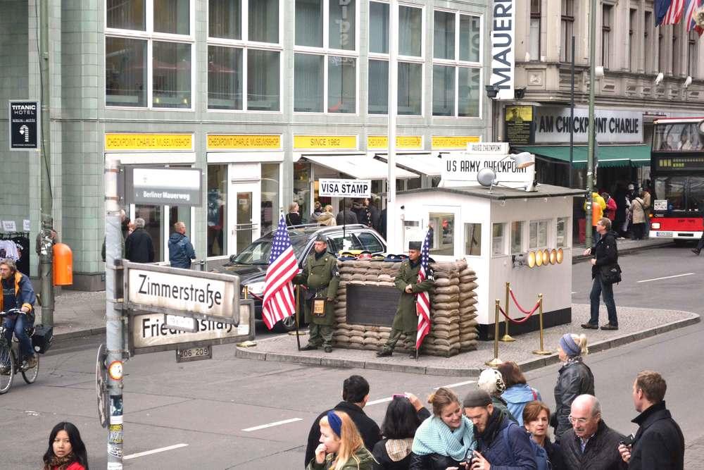 Checkpoint Charlie, coldwar, east west border landmark, Berlin, Germany. Image©sourcingstyle.com