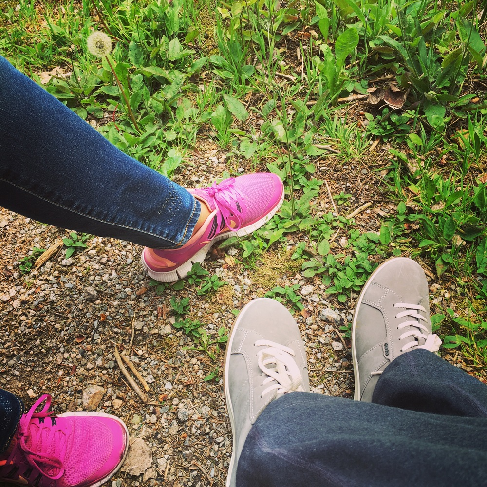 A walk in the forest, friendship, sneakers in the forest. Image copyright sourcingstyle.com