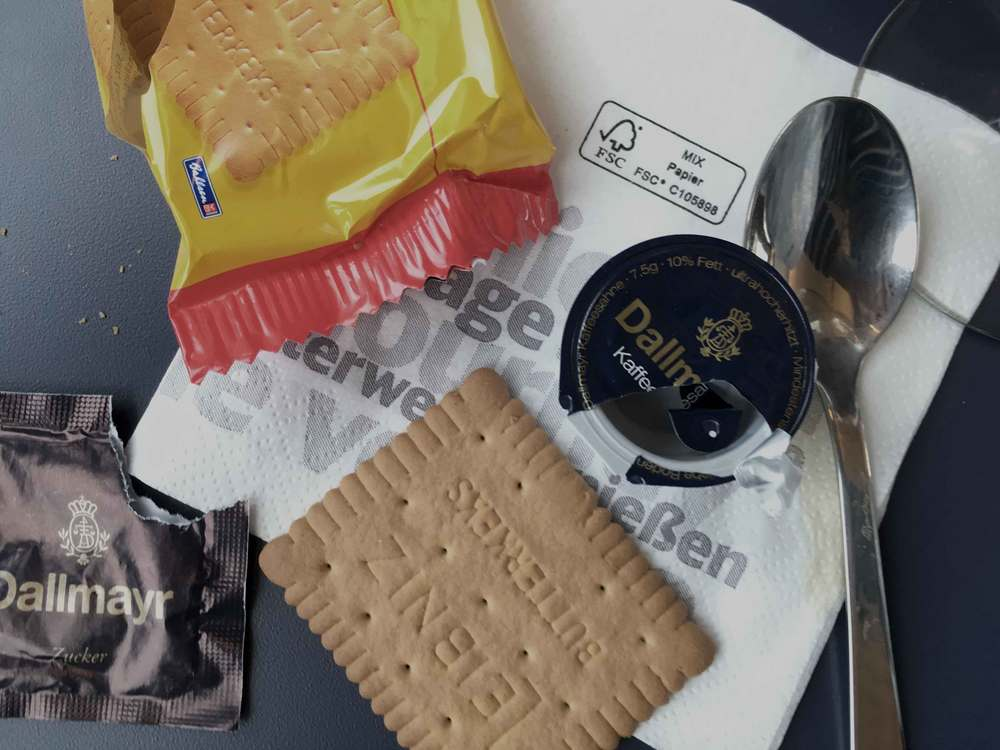 Leibniz cookies, snacks on board the German ICE train, Inter City Express, first class compartment, Deutsche Bahn, German rail. Image ©sourcingstyle.com