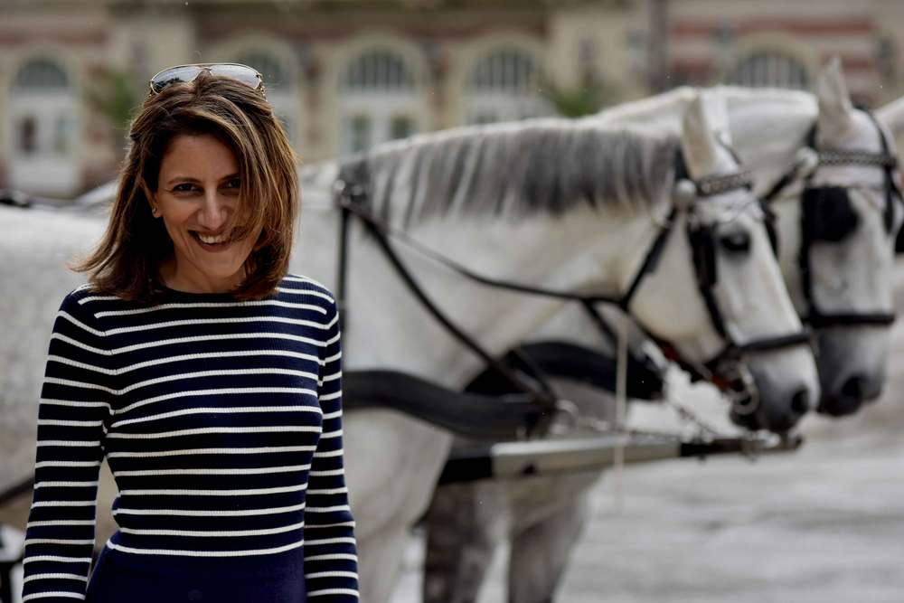Excited to see horses! Ralph Lauren dress, Baden Baden, Germany. Image©sourcingstyle.com