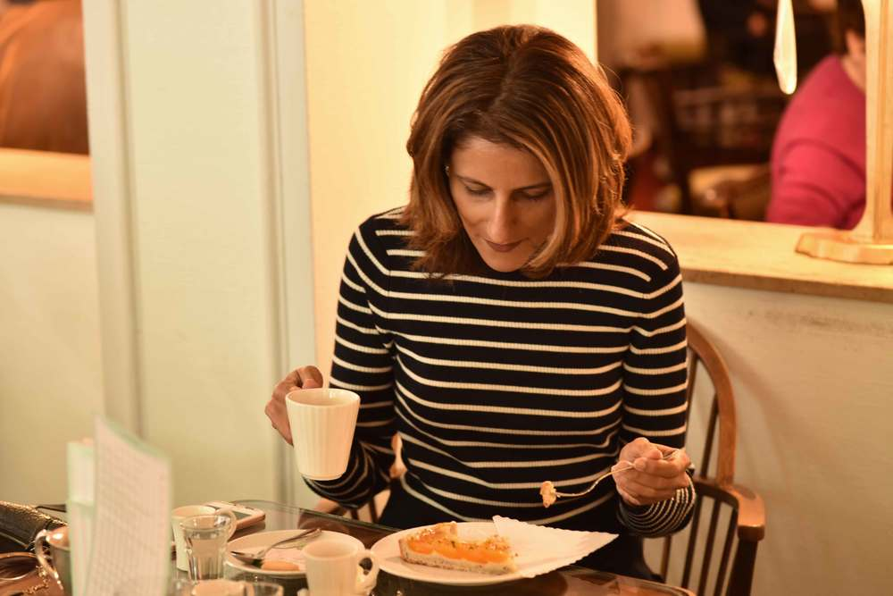 Having coffee and cake at Cafe König, Baden Baden, Germany. Dress, Ralph Lauren. Image©sourcingstyle.com