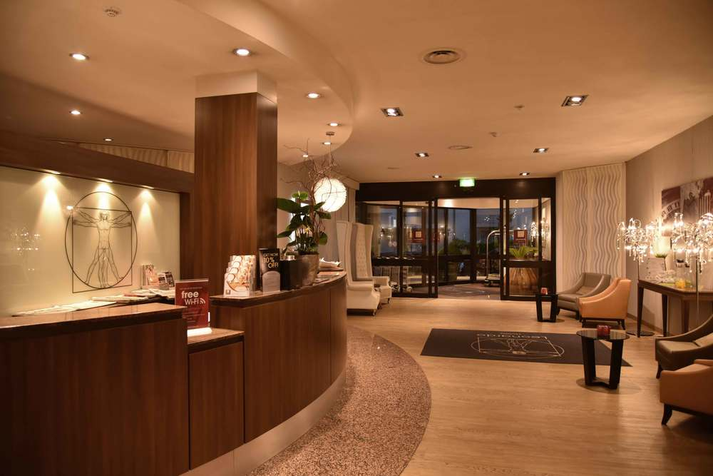 Front desk, reception area, lobby, Leonardo Royal hotel, Baden Baden, Germany. Image©sourcingstyle.com