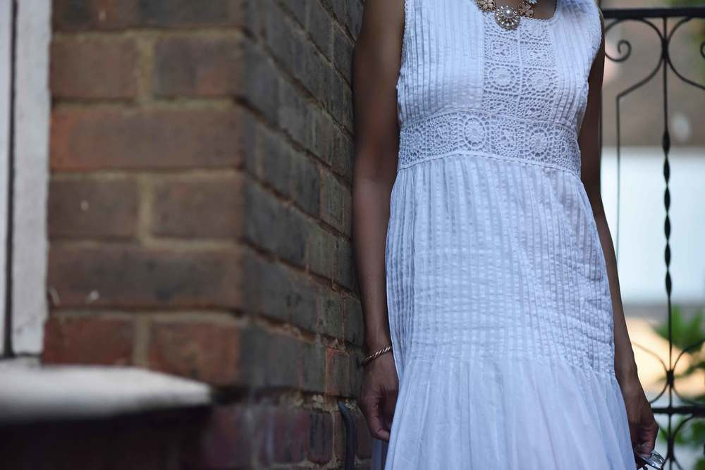 White Chicos lace and crochet maxi dress, necklace from Primark, image©sourcingstyle.com
