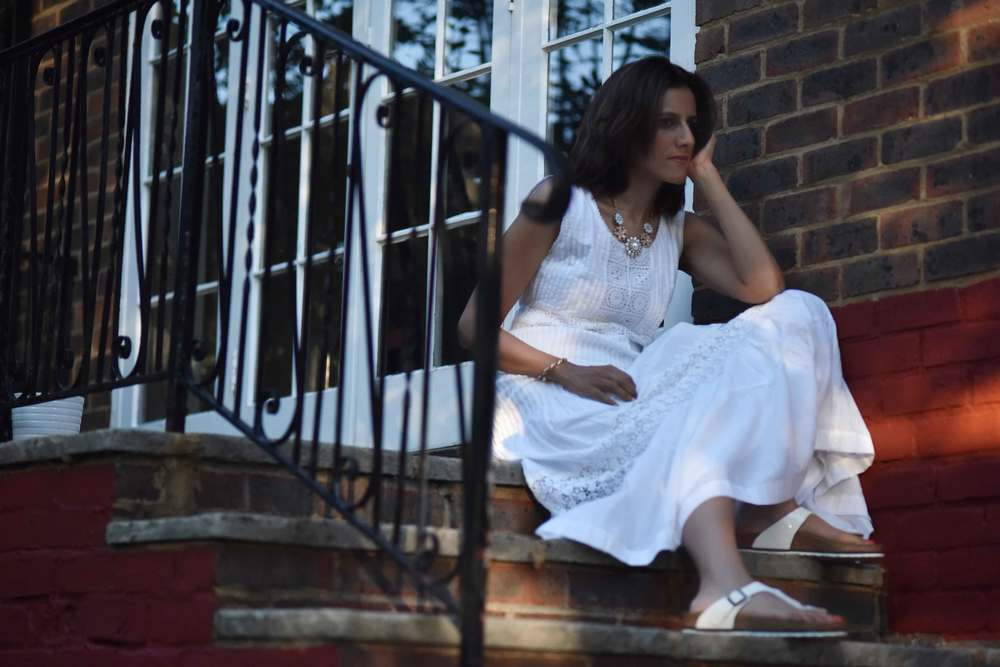 White Chicos lace and crochet maxi dress, necklace from Primark, Birkenstock slippers, image©sourcingstyle.com