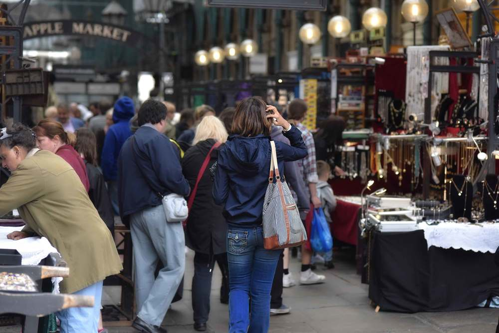 Zara water repellent jacket, True Religion jeans, Apple Market, Covent Garden, London, UK. Image©sourcingstyle.com