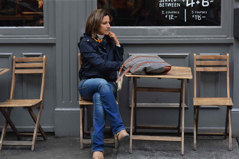 Zara water repellent jacket, Ralph Lauren polo sweater, Zara printed pocket square, Zara bandana print umbrella, True Religion jeans, Uggs boots, Covent Garden, London, UK. Image©sourcingstyle.com