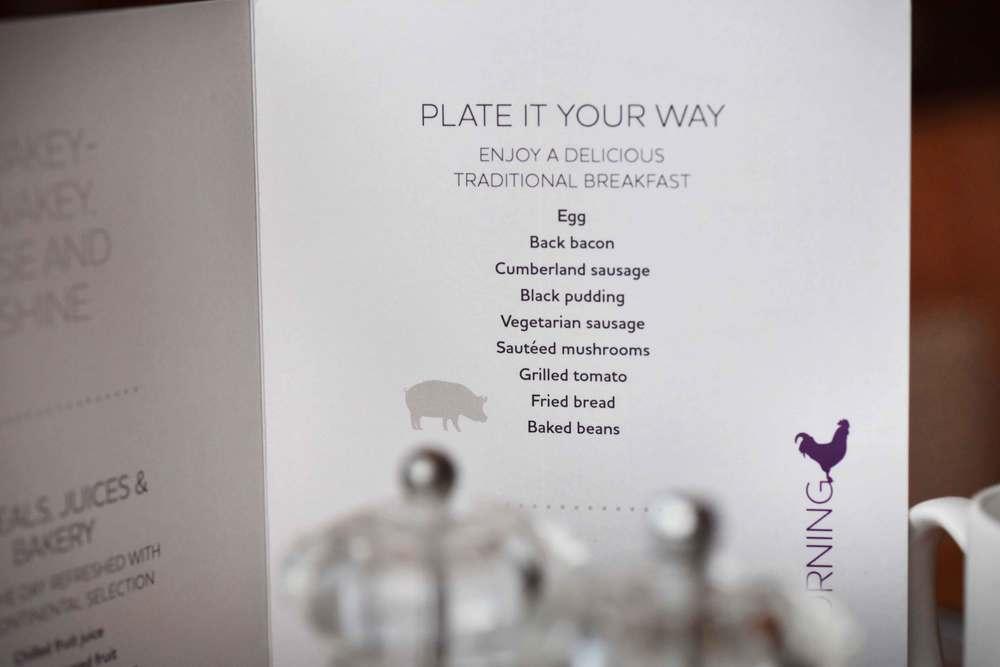 Menu, a la Carte, breakfast buffet, Mercure hotel, Inverness, Scotland. Image©sourcingstyle.com