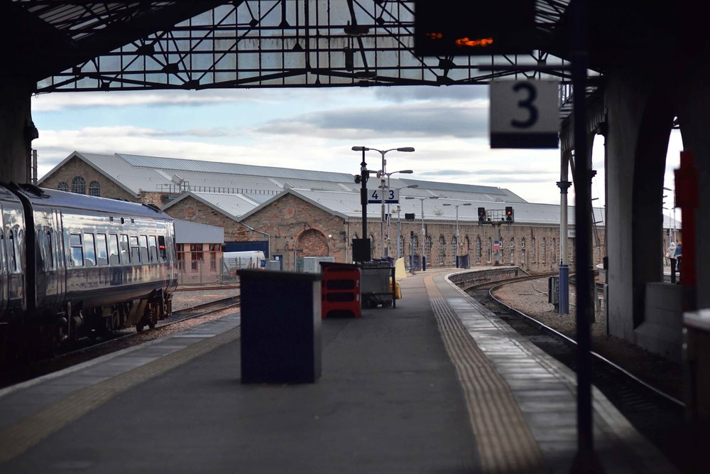 Inverness Railway Station, waiting for the train, Inverness, Scotland. Image©sourcingstyle.com