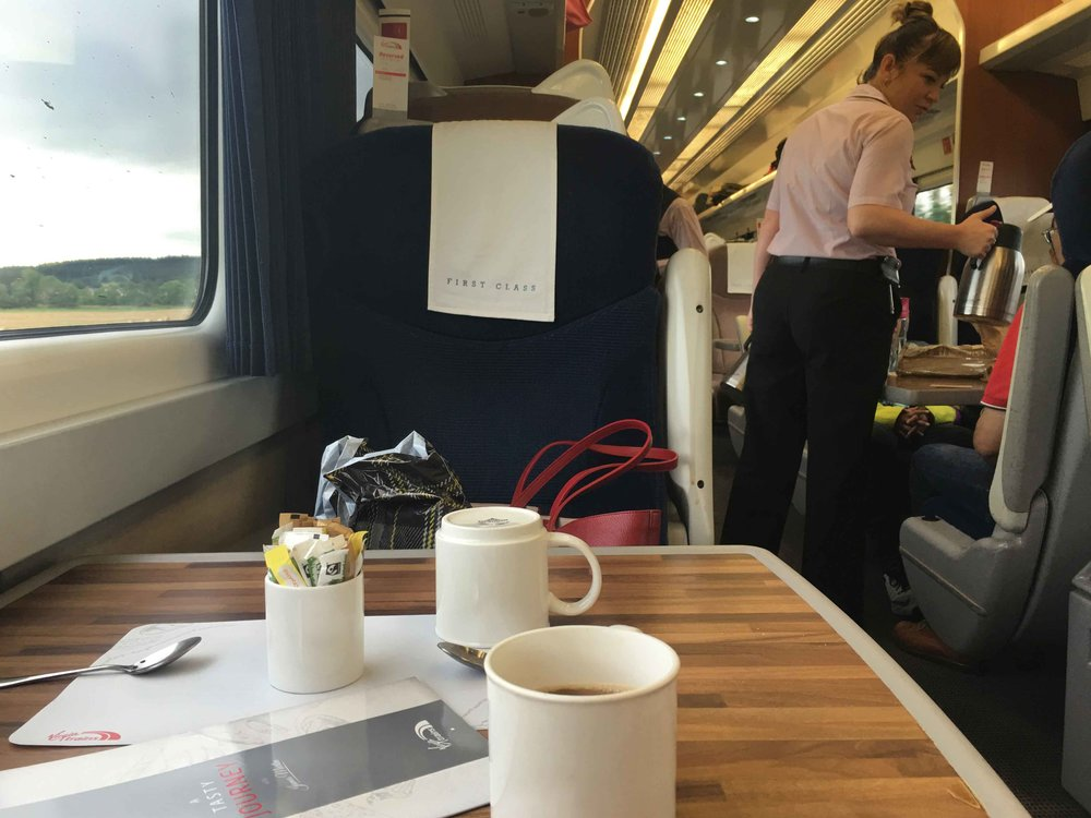 Coffee in the train, First Class, Virgin Trains East Coast, Scotland to London King's Cross. Image©sourcingstyle.com