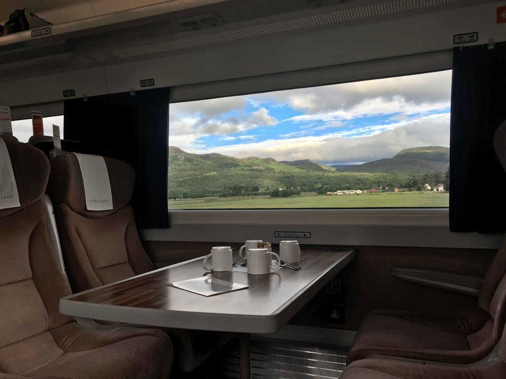 First Class, Virgin Trains East Coast, Scottish Highlands, Scotland to London King's Cross. Image©sourcingstyle.com