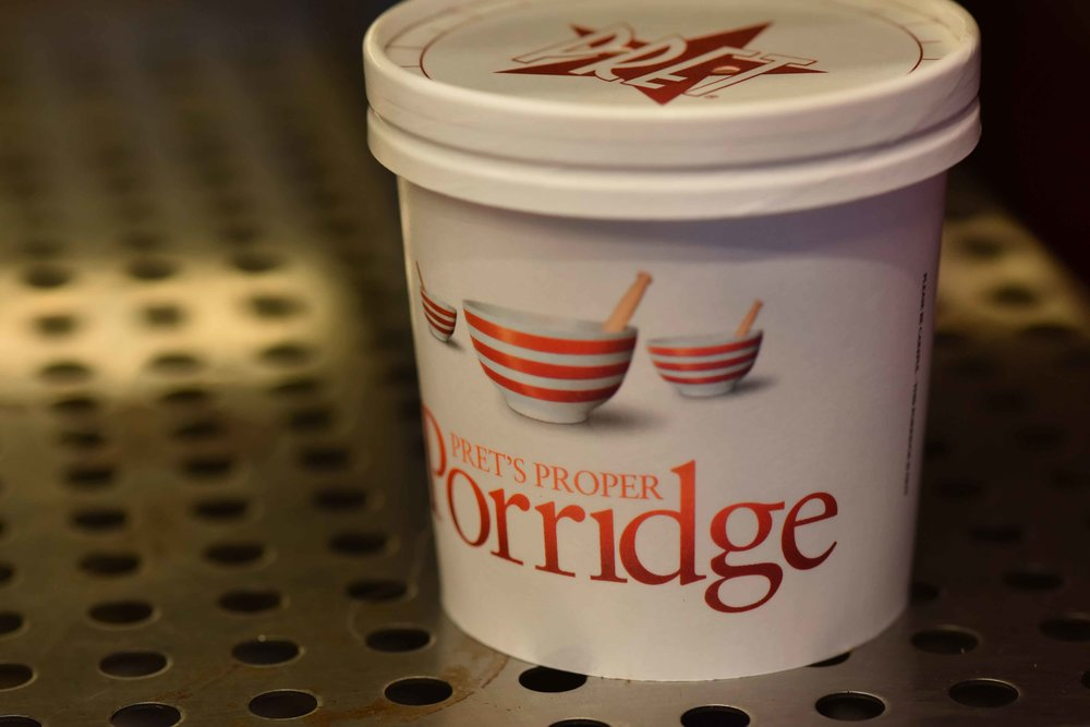 Porridge, Breakfast at Pret a Manger, London, U.K. Image©sourcingstyle.com