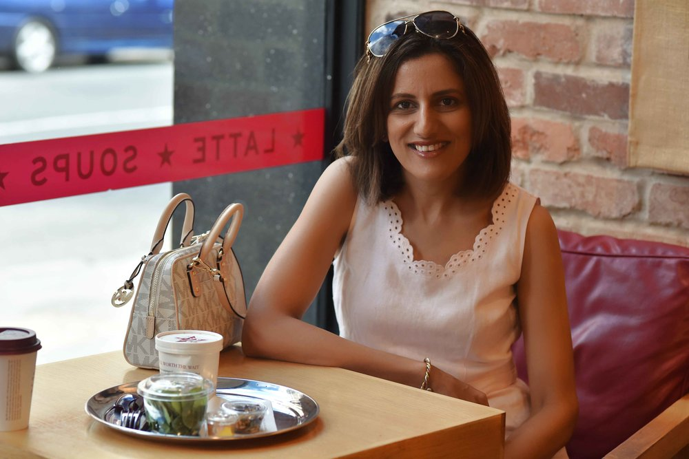 Breakfast at Pret a Manger, London, U.K., pink Talbots dress, Michael Kors crossbody bag. Image©sourcingstyle.com