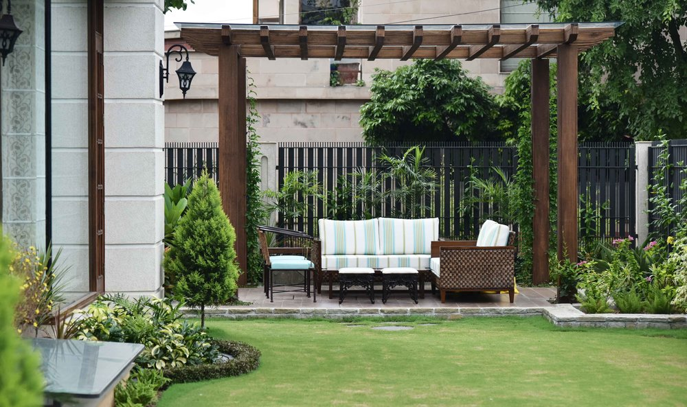 Landscape design by Geeta Singh, outside sitting area. Image©sourcingstyle.com