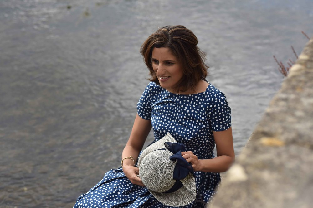 Prada dress, River Coln, Bibury, Cotswold, England. Image©sourcingstyle.com