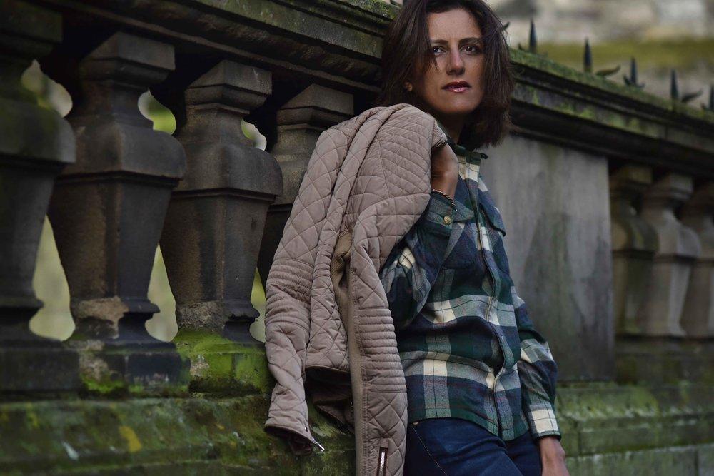 Ralph Lauren check shirt, Zara quilted jacket, True Religion jeans, Edinburgh, Scotland. Image©sourcingstyle.com