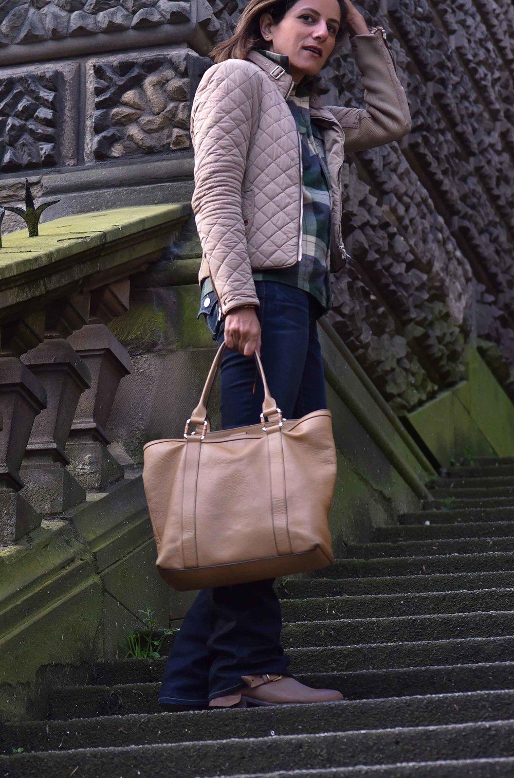 Ralph Lauren check shirt, Zara quilted jacket, True Religion jeans, Gucci bag, Edinburgh, Scotland. Image©sourcingstyle.com