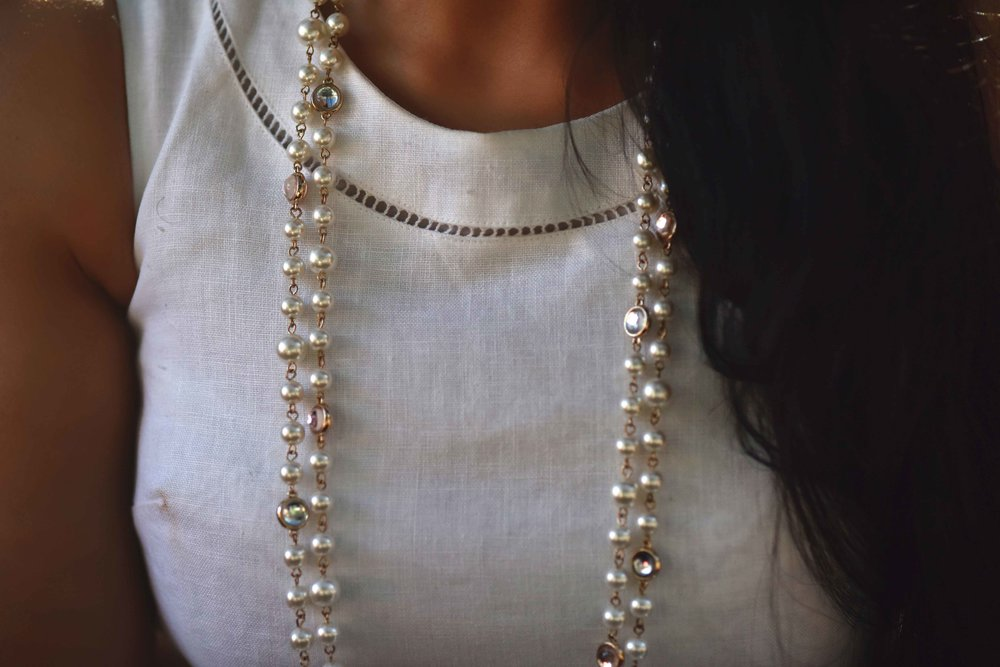 ASOS dress, pearl necklace. Image@sourcingstyle.com