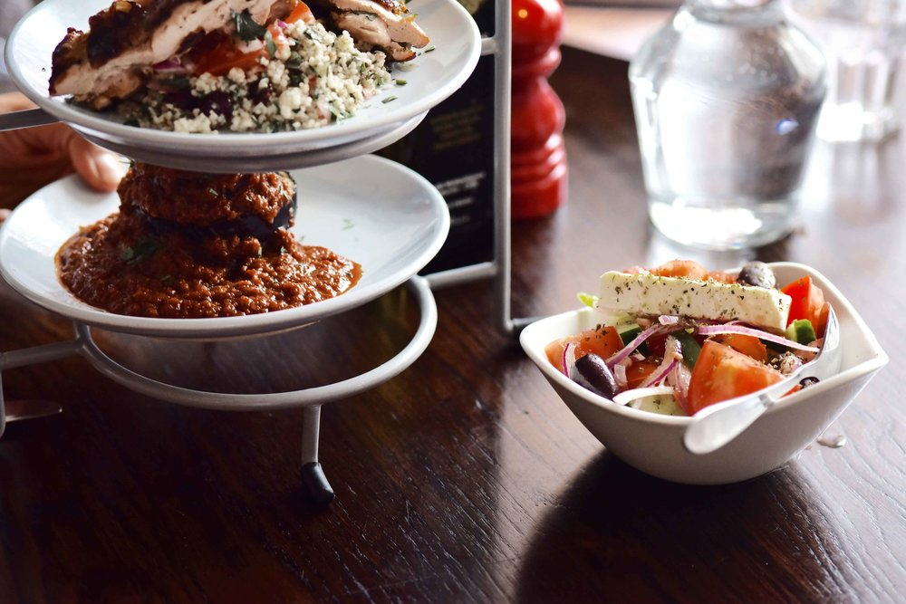 Lunch ideas, salad, fish & aubergines, Real Greek restaurant, London. Image©sourcingstyle.com