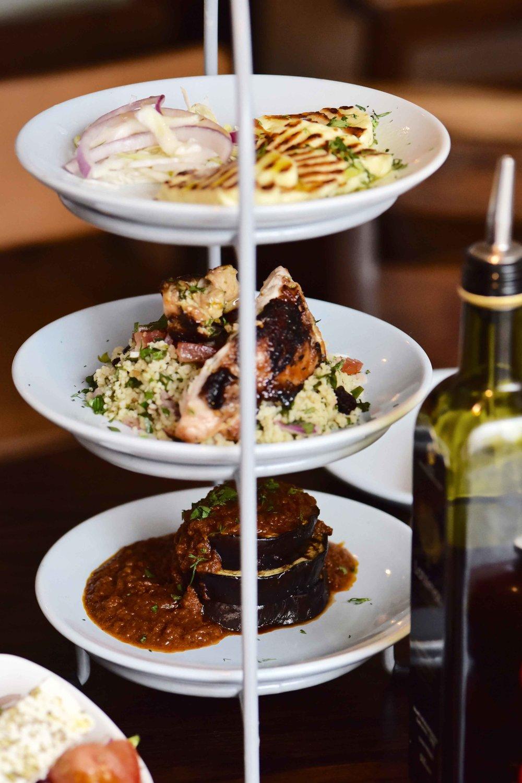 Lunch ideas, salad, fish & aubergines, Real Greek restaurant, London. Image©sourcingstyle.com