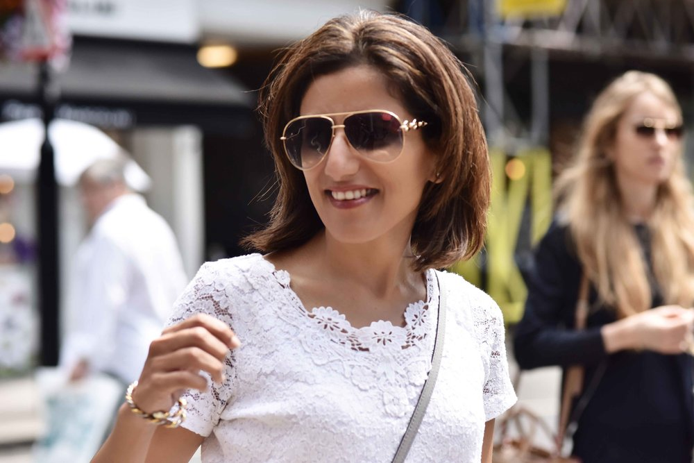 Summer street style, Marks & Spencer white lace top, London. Image©sourcingstyle.com
