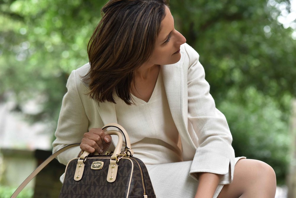 Talbots shift dress and jacket, Michael Kors bag. Image©sourcingstyle.com