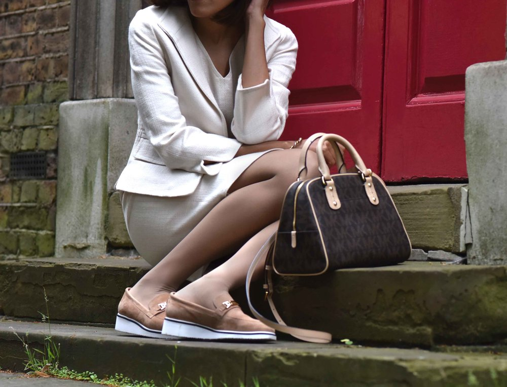 Talbots shift dress and jacket, Michael Kors bag, River Island shoes. Image©sourcingstyle.com