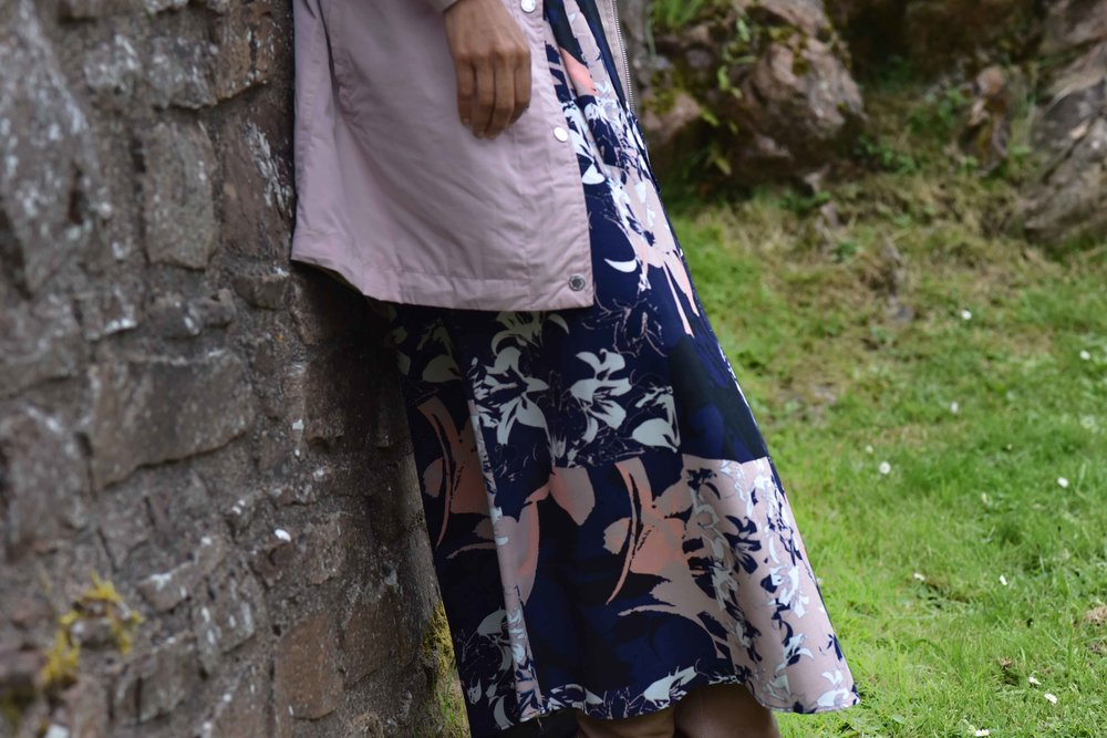 Pink Stormwear jacket, water repellent jacket, printed maxi dress, Urquhart Castle, Loch Ness, Scotland. Image©sourcingstyle.com