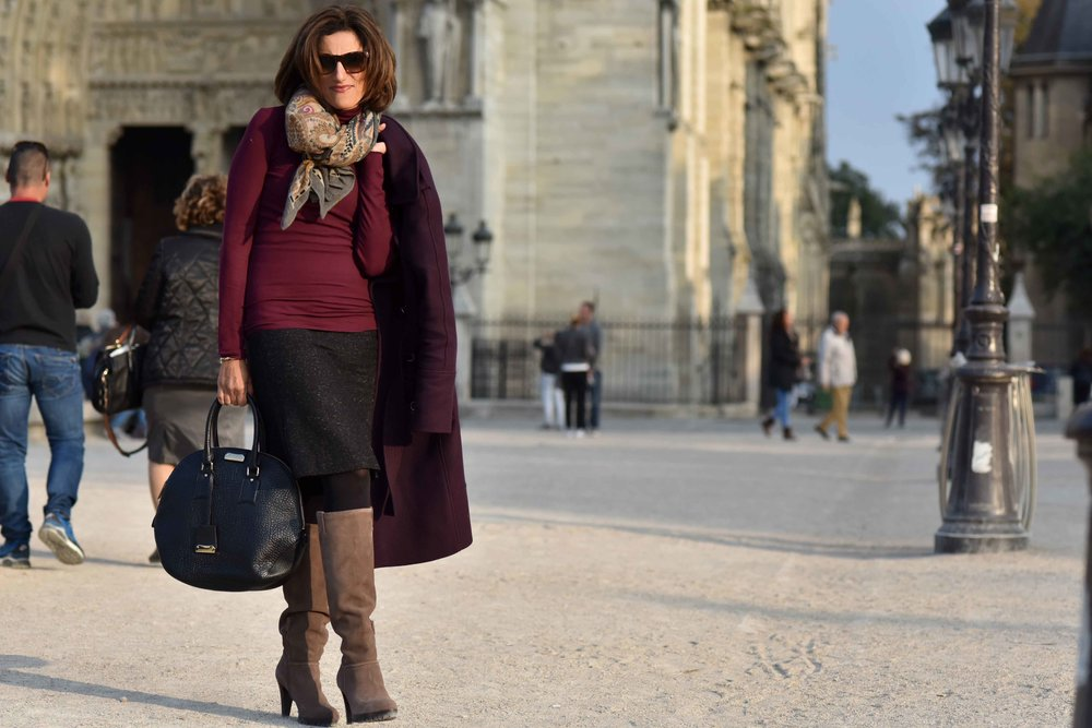 Karen Millen fall winter coat, Karen Millen boots, Talbots skirt, Ralph Lauren polo neck sweater, Burberry bag, Hallhuber scarf, Guccci sunglasses, Notre-Dame, Paris. Image©sourcingstyle.com