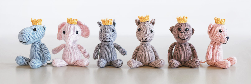 """From left to right - Hector the Hippopotamus, Emilie the Elephant, Rene the Rhinoceros, Georgitte the Giraffe, Marcel the Monkey, and Lisette the Lion... """"all have impeccable manners, an impressive pedigree and regal crowns."""""""
