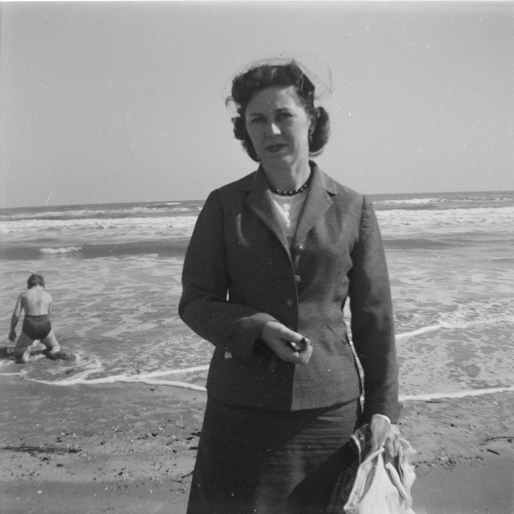 My Grandmother, by my Father, with the Brownie camera; Galveston 1955 (that's my uncle in the background)
